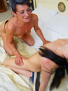 Horny old and young lesbians fooling around