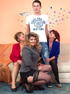 Three mature ladies share one horny and lucky guy