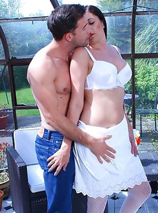 Horny British housewife enjoyinh her hard lover