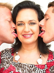 One hot mom sahring two horny cocks