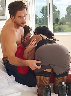 Two mature sluts doing one horny guy