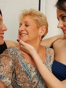 Three horny old and young lesbians go wild