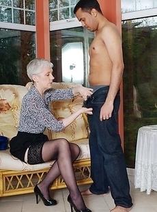 Horny mature slut fucking and sucking her toy boy