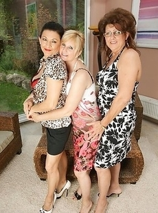 Three lesbian housewives get it on