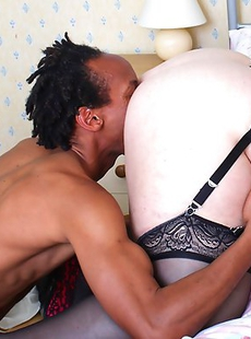 Horny British BBW fooling around with a strapping black dude