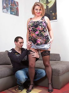 Big breasted housewife fucking her younger lover