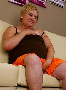 Three naughty old and young lesbians make out on the couch